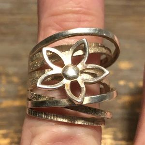 925 Silver Flower Stacked Ring